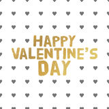 Happy Valentines Day Gold letters. Greeting card  illustration Stock Images