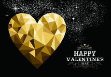 Happy valentines day gold low poly heart love card Stock Image