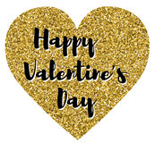 Happy Valentines Day. In a golden and glitter heart Royalty Free Stock Images