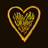 Happy Valentines Day Golden heart with calligraphic inscription inside on a black background Royalty Free Stock Photos