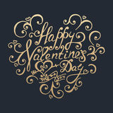 Happy Valentines day. Golden lettering. Stock Photography