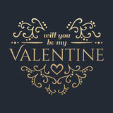 Happy Valentines day. Golden lettering. Stock Photos
