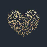 Happy Valentines day. Golden lettering. Royalty Free Stock Photo