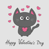 Happy Valentines Day. Gray contour cat holding pink heart set.  Stock Photos