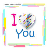 I love You! Slogan. Memphis. 3D Paper Art. Happy valentines day. I Love You Lettering, slogan for Happy Valentines Day greeting card abstract background with royalty free illustration