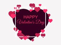 Happy Valentines Day. Greeting card background with hearts and frame. Vector. Illustration Stock Image