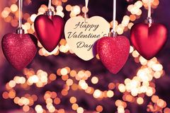 Free Happy Valentines Day Greeting Card. Beautiful Red Hearts Stock Image - 138558521