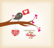 Happy valentines day greeting card with bird Stock Image