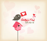 Happy valentines day greeting card with birdhouse Royalty Free Stock Images