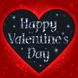 Happy Valentines Day Greeting Card. Black Heart With Stars On A Red Background Stock Photography