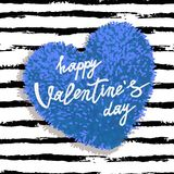 Happy Valentines Day greeting card. With blue fluffy heart, soft toy on striped brushstroke background. Vector illustration. Can be used as poster, flyers Stock Image