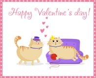 Happy valentines day greeting card with cute cartoon cats boy and girl in love vector illustration