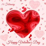 Happy Valentines Day greeting card. 3d paper cut heart concept design background. Vector illustration. Paper carving heart shapes with shadow. February 14 Royalty Free Stock Image