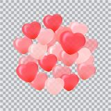 Happy Valentines Day greeting card. 3D red and pink balloon in f. Orm of heart. Vector Stock Photos