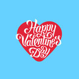 Happy Valentines Day greeting card design. Happy Valentines Day greeting card with hand lettering in flat style. Typographic vector illustration for 14 February Stock Illustration
