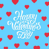 Happy Valentines Day greeting card design. Happy Valentines Day greeting card with hand lettering in flat style. Typographic vector illustration for 14 February Royalty Free Stock Photo