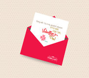 Happy valentines day greeting card with envelope Stock Images