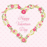 Happy Valentines Day greeting card with flowers in vintage style Stock Images