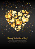 Happy Valentines day  greeting card. Gold gem heart on black background. Stock Images