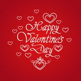 Happy Valentines Day Greeting Card With Handwritten Calligraphy Lettering On Red Background. Vector Illustration Stock Photos
