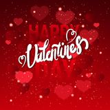 Happy Valentines Day Greeting Card With Handwritten Lettering On Red Glittering Hearts Background. Vector Illustration Royalty Free Stock Photography