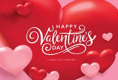 Happy Valentines Day greeting card. With handwritten lettering and 3D hearts background Royalty Free Stock Photo