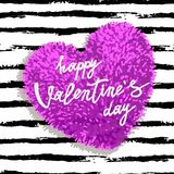 Happy Valentines Day greeting card. With pink fluffy heart, soft toy on striped brushstroke background. Vector illustration. Can be used as poster, flyers Royalty Free Stock Photos