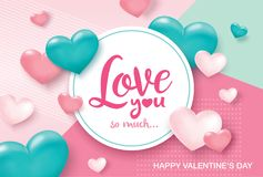 Happy Valentines Day greeting card. With sweet and lovely hearts background Stock Photography
