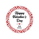 Happy Valentines day greeting card. Vector posterfor the Valentine`s day Royalty Free Stock Image