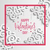Happy Valentines Day greeting card. Vector template. Romantic poster with 3d pattern, hearts. Love, poster, banner Stock Images