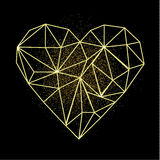 Happy Valentines day greeting card. Heart shape in low poly style with golden sand behind the heart. Vector modern illustration. EPS10 Stock Images