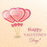 Happy Valentines Day Greeting Card with  heart-shaped lollipop Royalty Free Stock Photography