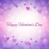 Happy Valentines day greeting card with hearts and lights Royalty Free Stock Images