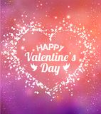 Happy Valentines Day greeting card. I Love You. 14 February. Holiday background with hearts, light, stars. Vector Illustration Royalty Free Stock Photo