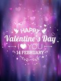 Happy Valentines Day greeting card. I Love You. 14 February. Holiday background with hearts, light, stars. Vector Illustration royalty free illustration