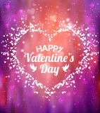 Happy Valentines Day greeting card. I Love You. 14 February. Holiday background with hearts, light, stars. Vector Illustration Royalty Free Stock Photography