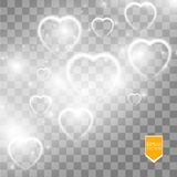 Happy Valentines Day greeting card. I Love You. 14 February. Holiday background with falling hearts with arrow, light Stock Photo