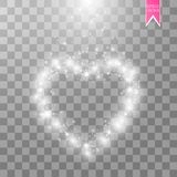 Happy Valentines Day greeting card. I Love You. 14 February. Holiday background with hearts with arrow, light, stars on. Transparent background. Vector Royalty Free Stock Photography