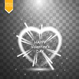 Happy Valentines Day greeting card. I Love You. 14 February. Holiday background with hearts with arrow, light, stars and. Projector and fireworkson Stock Photography
