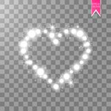 Happy Valentines Day greeting card. I Love You. 14 February. Holiday background with hearts with arrow, light, stars on. Transparent background. Vector Royalty Free Stock Photo