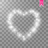 Happy Valentines Day greeting card. I Love You. 14 February. Holiday background with hearts with arrow, light, stars on. Transparent background. Vector Stock Photo