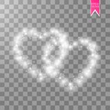 Happy Valentines Day greeting card. I Love You. 14 February. Holiday background with hearts with arrow, light, stars on. Transparent background. Vector vector illustration