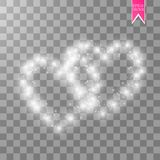 Happy Valentines Day greeting card. I Love You. 14 February. Holiday background with hearts with arrow, light, stars on. Transparent background. Vector Royalty Free Stock Image