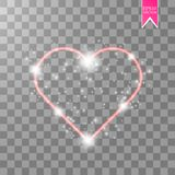 Happy Valentines Day greeting card. I Love You. 14 February. Holiday background with hearts with arrow, light, stars on. Transparent background. Vector Stock Images