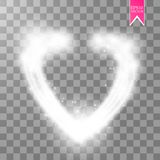 Happy Valentines Day greeting card. I Love You. 14 February. Holiday background with hearts, light, stars on transparent Stock Photography