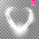 Happy Valentines Day greeting card. I Love You. 14 February. Holiday background with hearts, light, stars on transparent Stock Image