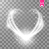Happy Valentines Day greeting card. I Love You. 14 February. Holiday background with hearts, light, stars on transparent Stock Photo