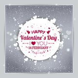 Happy Valentines Day greeting card. I Love You. 14 February. Holiday background with hearts, light, stars. Vector Illustration stock illustration