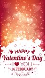 Happy Valentines Day greeting card. I Love You. 14 February. Holiday background with hearts, light, stars. Vector Illustration Royalty Free Stock Photos