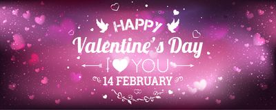 Happy Valentines Day greeting card. I Love You. 14 February. Holiday background with hearts, light, stars. Vector Illustration Stock Images